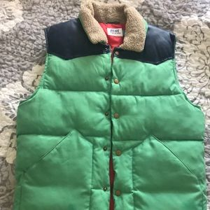 Retro style, wool collared down vest